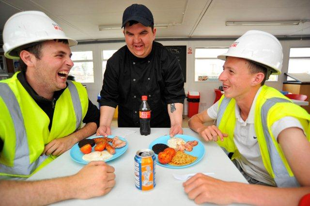 workers at Unity Enterprise cafe receive Lunch